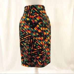 Lularoe Cassie Pencil Skirt.  Fun Print!  Size L